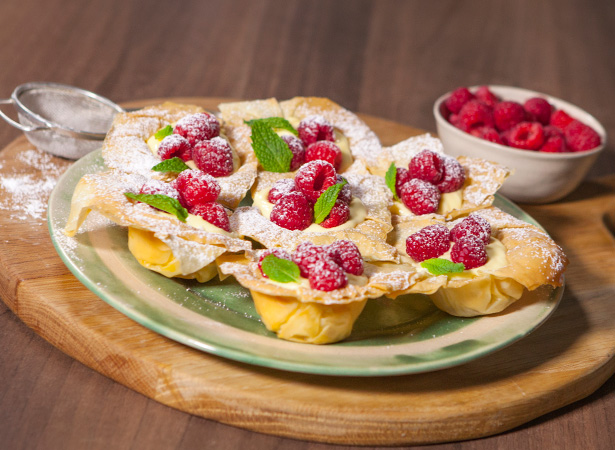 Lemon, Mascarpone & Raspberry Filo Tartlets