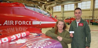Red Arrows tour banner raffled in aid of Jon Egging Trust