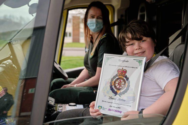 Ambulance loving Lucas raises £1,500 for The Ambulance Staff Charity